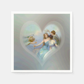 Heart with Cupid and Ladies Paper Napkin