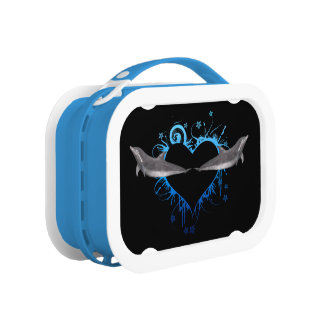 Heart with Dolphins blue Lunch Box