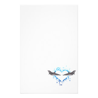 Heart with Dolphins blue Stationery