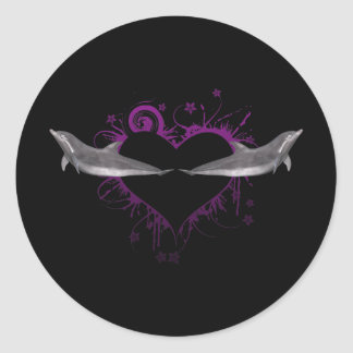 Heart with Dolphins purple Round Sticker