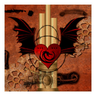 Heart with dragon and wings poster