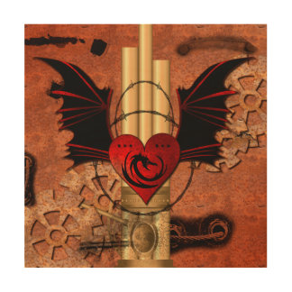 Heart with dragon and wings wood canvas