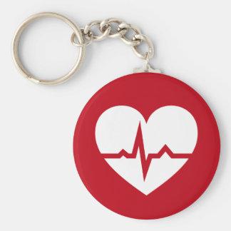 Heart with ECG wave cardiologist or cardiac nurse Basic Round Button Key Ring