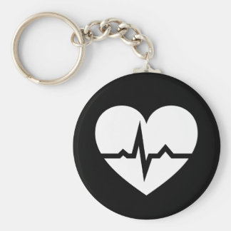 Heart with ECG wave cardiologist or cardiac nurse Key Ring