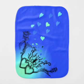 Heart with Flower and Butterfly Burp Cloth