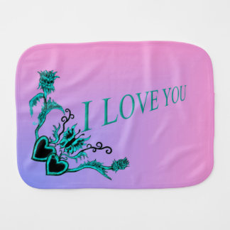 Heart with Flower and Butterfly , I Love You Burp Cloth