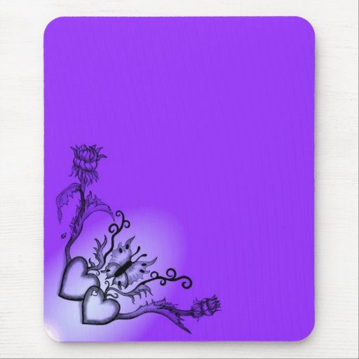 Heart with Flower and Butterfly Mousepad