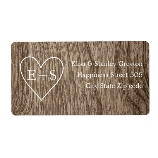 Heart with initials wood grain rustic wedding