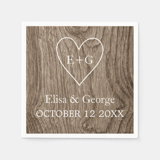 Heart with initials wood grain rustic wedding paper