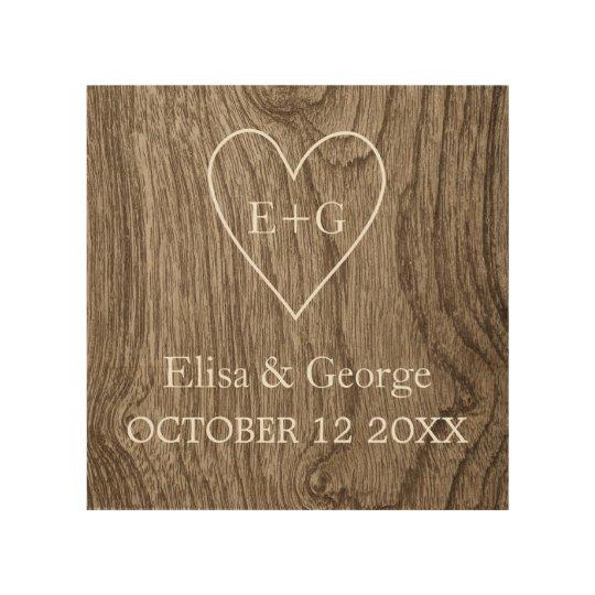 Heart with initials wood grain rustic wedding wood