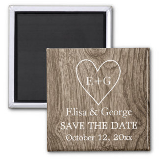 Heart with initials wood wedding Save the Date Fridge Magnets