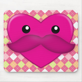Heart with Moustache Mouse Pad