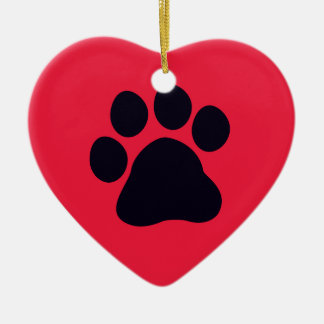 Heart with Paw Print Ceramic Heart Decoration