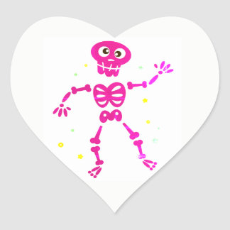 Heart with PINK SKELETON Heart Sticker