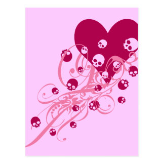 Heart with Pink Skulls and Swirls Postcard