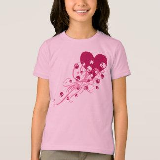 Heart with Pink Skulls and Swirls Tee Shirt
