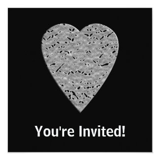 Heart with Printed Gray Pattern. 13 Cm X 13 Cm Square Invitation Card