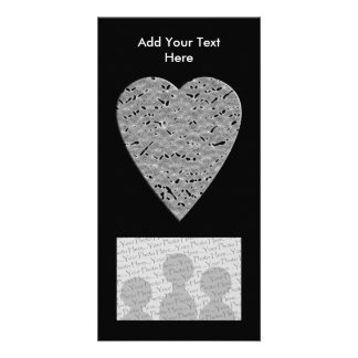 Heart with Printed Gray Pattern Personalized Photo Card