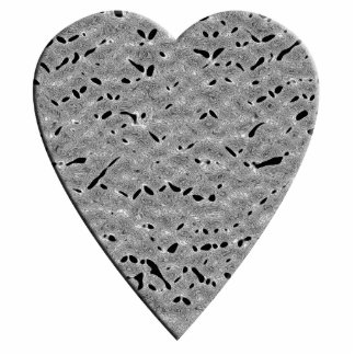 Heart with Printed Gray Pattern. Cut Outs