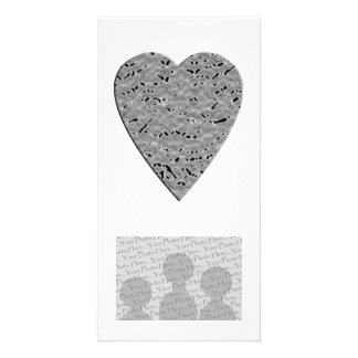 Heart with Printed Gray Pattern Picture Card