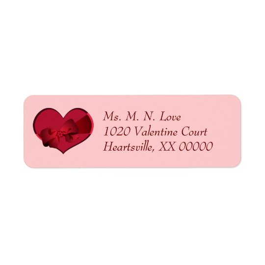 Heart with Red Bow Valentine Return Address Label