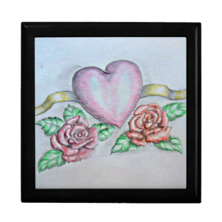 Heart with Roses Large Square Gift Box