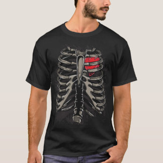 Heart With Skeleton Rib Cage Bones Xray Style T-Shirt