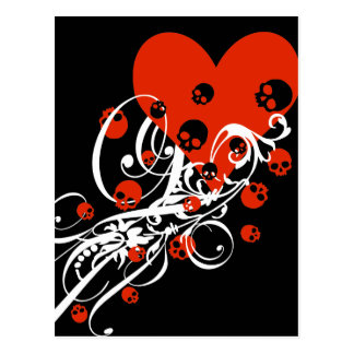 Heart with Skulls and Swirls Postcard