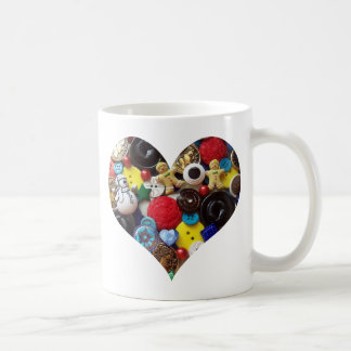 Heart with Snowman and Gingerbread Men Buttons Mugs