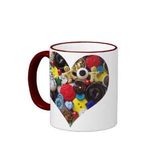 Heart with Snowman and Gingerbread Men Buttons Mug