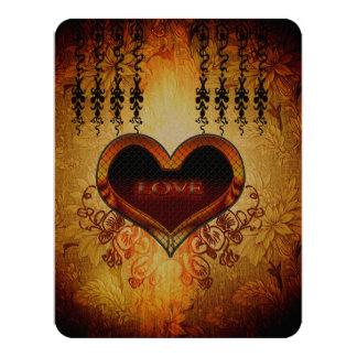 Heart with the word love 11 cm x 14 cm invitation card
