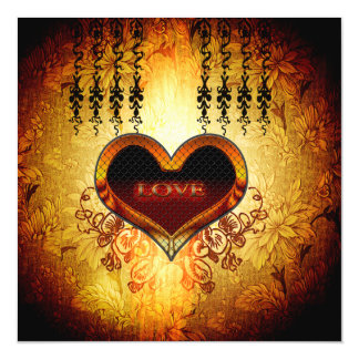 Heart with the word love magnetic invitations