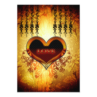 Heart with the word love on vintage background 13 cm x 18 cm invitation card