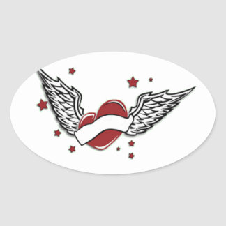 Heart With Wings and Stars Oval Sticker