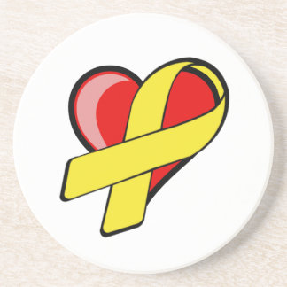 Heart with Yellow Ribbon Coasters