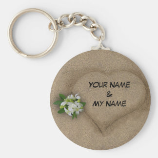 Heart with your Names in the Sand Key Ring