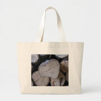 Heart wood canvas bag