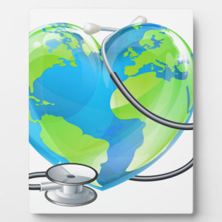 Heart World Health Day Earth Stethoscope Globe Con Display Plaque