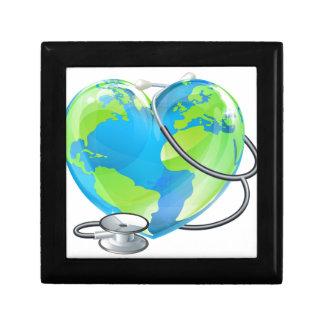 Heart World Health Day Earth Stethoscope Globe Con Small Square Gift Box