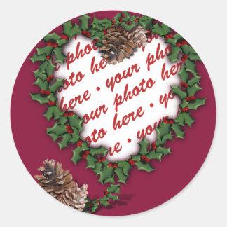 Heart Wreath Photo Frame Classic Round Sticker