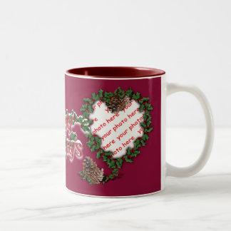 Heart Wreath photo frame on red Coffee Mug