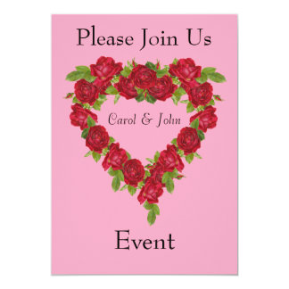 Heart Wreath Red Roses 13 Cm X 18 Cm Invitation Card