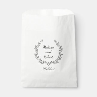 Heart Wreath Wedding Favor Personalized Name Bag