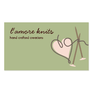 Heart yarn love knitting needles business cards
