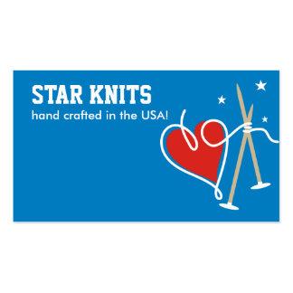 Heart yarn love knitting needles patriot biz cards pack of standard business cards