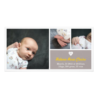 Heart Yellow & Grey Birth Announcement Photo Card