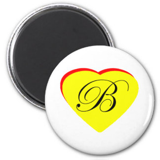 Heart Yellow Red B Wedding Invitation The MUSEUM Z 6 Cm Round Magnet