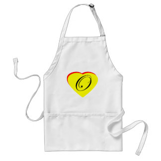 Heart Yellow Red O Wedding Invitation The MUSEUM Z Standard Apron