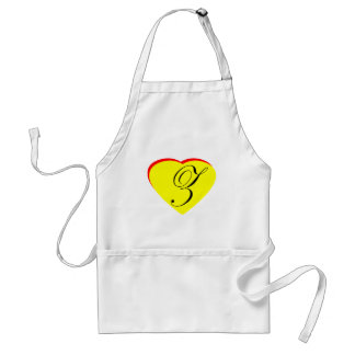 Heart Yellow Red Z Wedding Invitation The MUSEUM Z Apron
