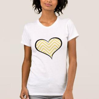 Heart, Zigzag Pattern, Chevron Pattern - Yellow T-Shirt